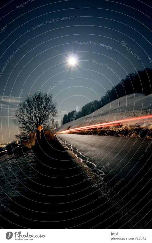 Fullmoon @ night Himmel Baum Winter Wald Straße dunkel kalt Schnee Gras PKW Linie Beleuchtung Perspektive Bank Klarheit Schönes Wetter
