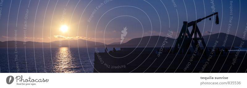 Alghero Sonnenuntergang Sonnenaufgang Küste Meer Mittelmeer Sardinien Hafenstadt Stadtrand Erholung blau Ferien & Urlaub & Reisen Farbfoto Gedeckte Farben