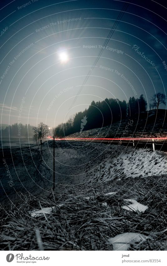 Fullmoon @ night 2 Himmel Winter Wald Straße dunkel kalt Schnee Gras Lampe Klarheit Schönes Wetter Schweiz Mond Kurve mystisch Berghang