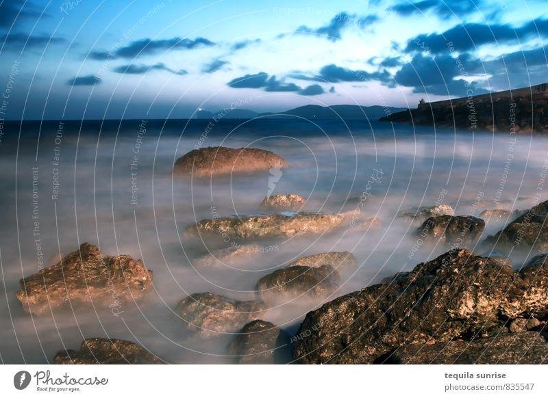 Meer vor Alghero Ferien & Urlaub & Reisen blau Wasser Strand Küste Felsen Wellen Hafen Mittelmeer Hafenstadt Sardinien Capo Caccia