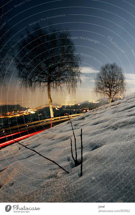 Im Mondschein Himmel Baum Winter dunkel Straße kalt Schnee Gras Lampe Schönes Wetter Klarheit Schweiz Kurve mystisch Scheinwerfer