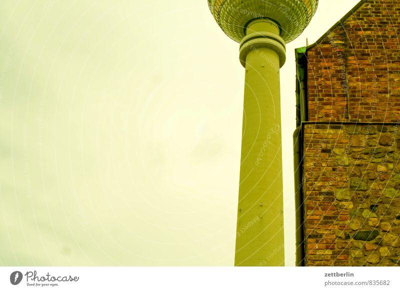 Fernsehturm und Marienkirche bilden einen Textfreiraum Architektur Berlin Stadt Deutschland Hauptstadt Sommer Städtereise Tourismus Wahrzeichen Mitte