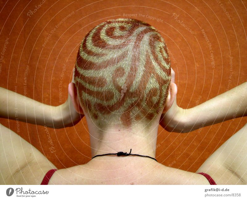 kopf kunst Frau rot Farbe Haare & Frisuren Kopf blond Rücken streichen gestalten färben Hinterkopf
