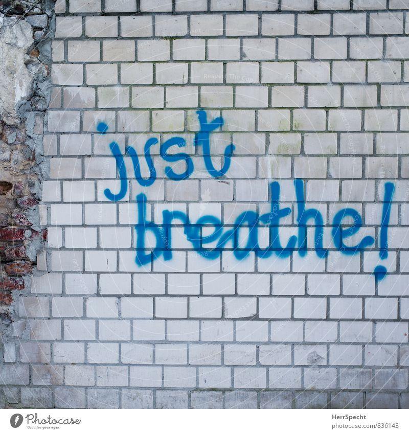 Ratschlag Berlin Stadtzentrum Bauwerk Gebäude Mauer Wand Stein Schriftzeichen Graffiti einfach blau weiß atmen Englisch Befehl Empfehlung Mauerstein Steinmauer