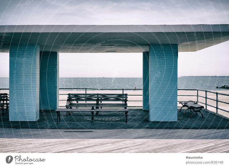 Rastplatz am Strand Ferien & Urlaub & Reisen blau Wasser Meer ruhig Umwelt Küste Architektur Holz Schwimmen & Baden Stein Sand Luft Fassade Tourismus