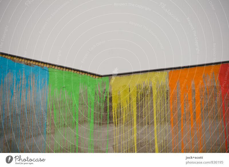 verlaufen & verstreichen Subkultur Straßenkunst Himmel Neukölln Brandmauer Farbstoff Linie oben grau Laster Erfolg Farbe Kreativität stagnierend Zeit getrocknet