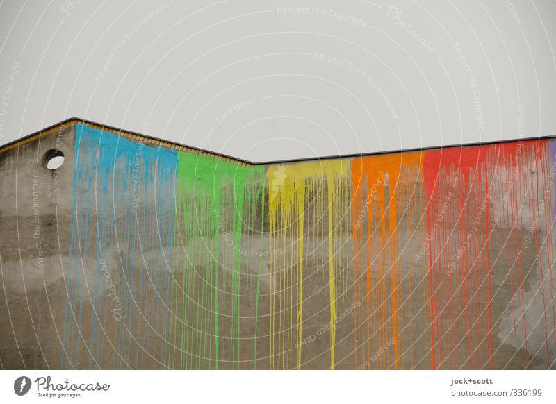 verstreichen & verinnen Stil Subkultur Straßenkunst Himmel Neukölln Brandmauer Farbstoff Linie Loch lang oben grau Laster Farbe Freude Kreativität stagnierend