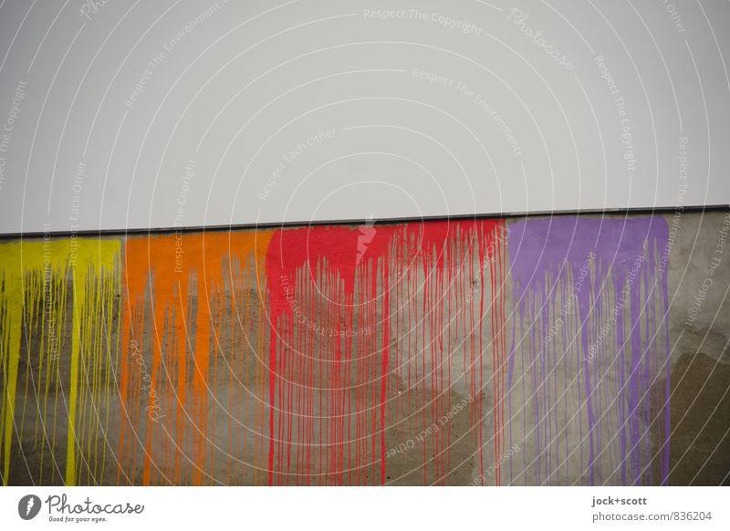verinnen & verfließen Stil Subkultur Straßenkunst Himmel Neukölln Brandmauer Farbstoff Linie lang positiv grau Laster Kreativität stagnierend Zeit Farbverlauf