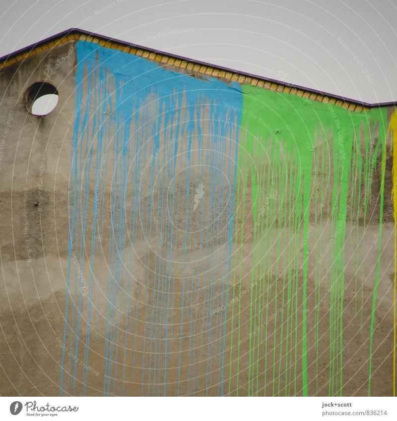 verfließen & verlaufen Subkultur Straßenkunst Neukölln Brandmauer Farbstoff Loch Putzfassade Linie lang oben blau grün Farbe Kreativität stagnierend Farbenspiel