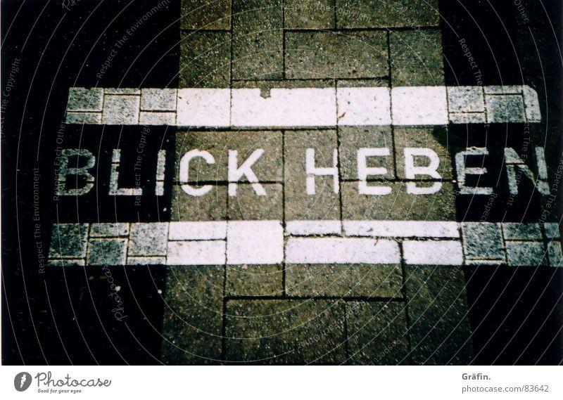 Blick heben Straße Farbe grau Stein Kunst Perspektive Schriftzeichen Bodenbelag Asphalt Buchstaben Bürgersteig Meinung Straßenbelag Aussehen Fußgänger