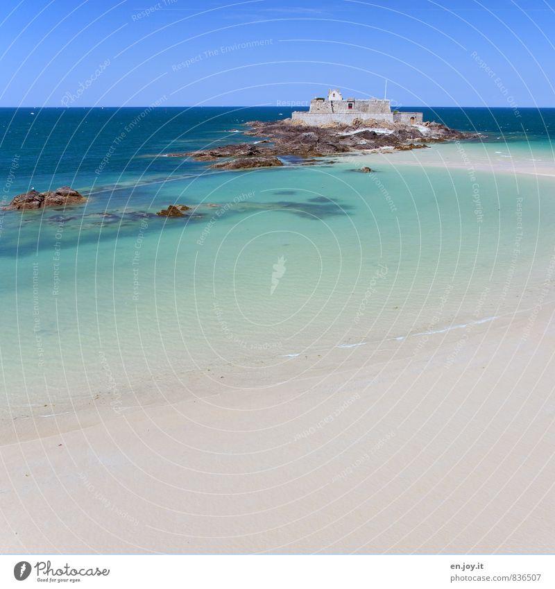 karibisch Ferien & Urlaub & Reisen Tourismus Ferne Sommer Sommerurlaub Strand Meer Insel Landschaft Wolkenloser Himmel Horizont Schönes Wetter Felsen Küste
