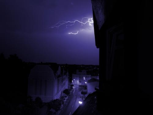 Thunderstorm Haus Blitze Unwetter Donnern Nacht Stadt Gewitter Straße