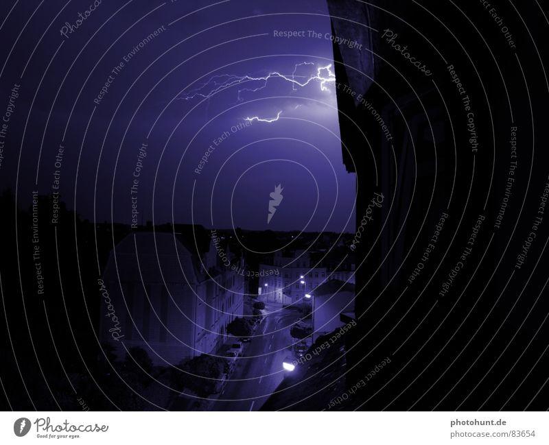 Thunderstorm Stadt Haus Straße Blitze Gewitter Unwetter Donnern
