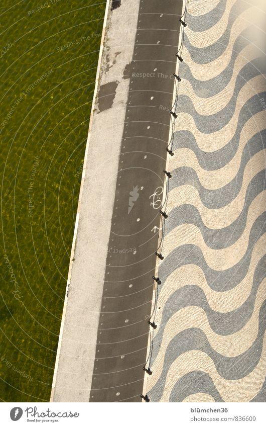 von oben aus betrachtet Lissabon Belém Portugal Europa Hauptstadt Fahrradfahren Fußgänger Wege & Pfade historisch Pflastersteine Muster Strukturen & Formen