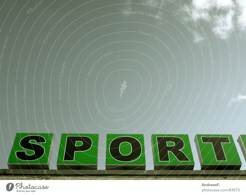 SPORT Himmel Sport Spielen Schlagwort Schriftzeichen Buchstaben Fitness Typographie sportlich graphisch Großbuchstabe Doping Sportverein Werbeschild Vor hellem Hintergrund Dopingkontrolle