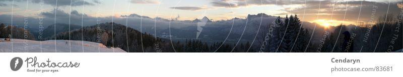 Winterpanorama Himmel Sonne Ferne Schnee Berge u. Gebirge Stimmung groß Romantik Niveau Aussicht Klettern Sehnsucht Abenddämmerung Paradies
