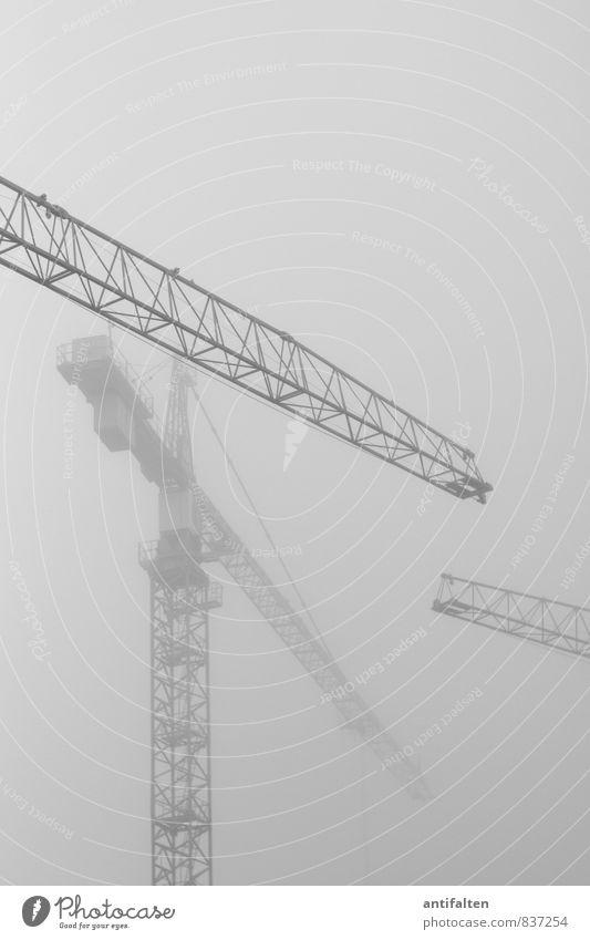 Nebelkräne Arbeit & Erwerbstätigkeit Beruf Kranfahrer Baustelle Luft Himmel Wolken Sommer Herbst Wetter schlechtes Wetter Stadt eckig gruselig hoch kalt grau