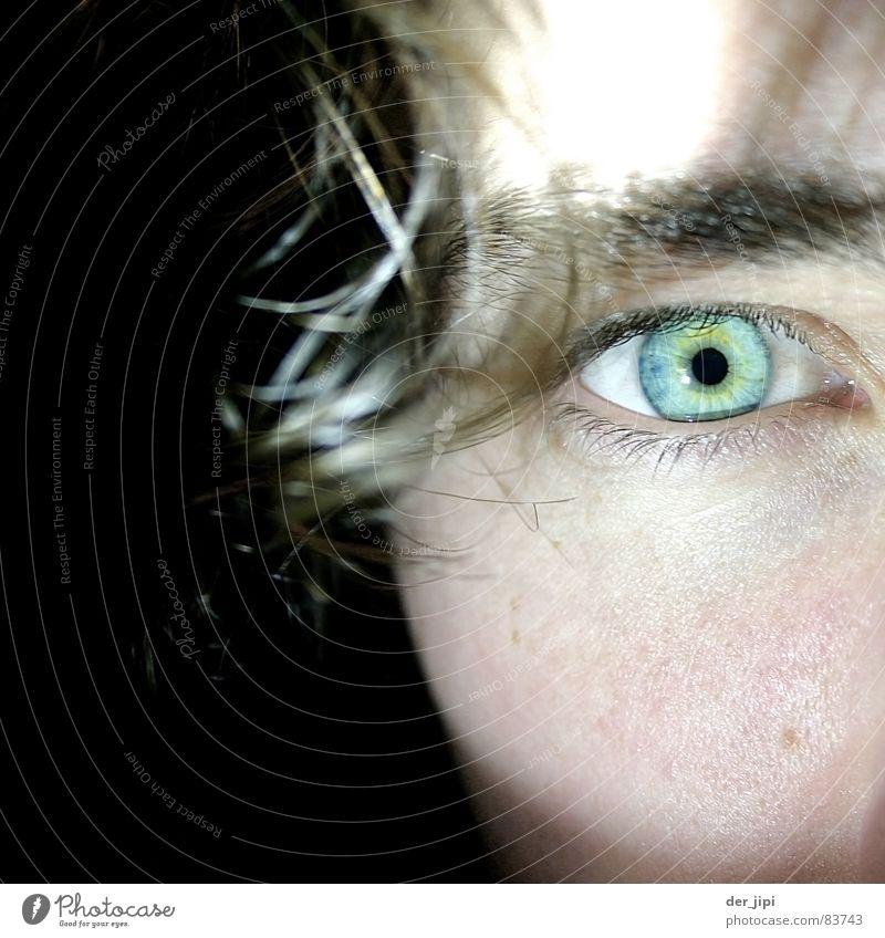 Geometrische Optik rund Pupille Wange grün türkis kalt schwarz Gesicht blau-grün Nahaufnahme Perspektive Publikum Sehvermögen Bündel Blick Aussicht fokussieren