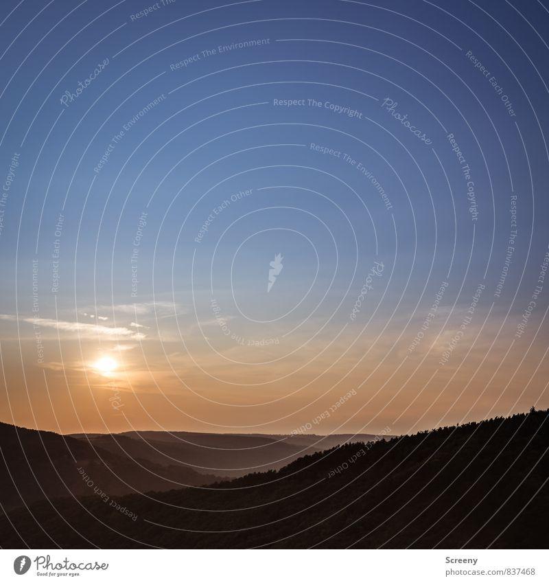 Somewhere... Natur Landschaft Himmel Wolken Horizont Sonne Sonnenaufgang Sonnenuntergang Sonnenlicht Sommer Wetter Schönes Wetter Hügel Vulkaneifel Eifel