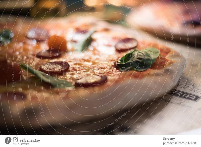 Pizzapizza Essen Lebensmittel frisch Ernährung Kräuter & Gewürze lecker Appetit & Hunger Backwaren Teigwaren Käse Wurstwaren Pizza Italienische Küche Basilikum Salami Hefe