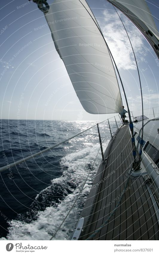 Fock Lifestyle schön Freizeit & Hobby Wassersport Segeln Natur Urelemente Schönes Wetter Wind Wellen Meer Mittelmeer Schifffahrt Bootsfahrt Sportboot Jacht