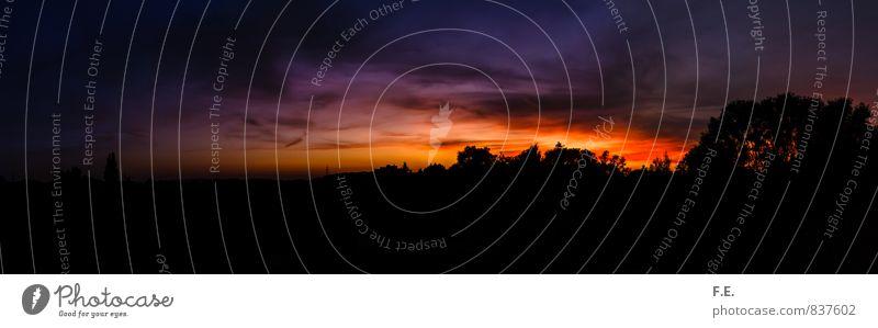 Schwarzbunter Sonnenuntergang Kunst Landschaft Himmel Wolken Horizont Sonnenaufgang gelb violett orange schwarz beeindruckend fantastisch Farbfoto Außenaufnahme