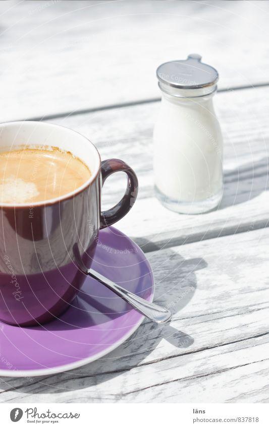 Sommertag Milch Kaffee Topf Tasse Becher Flasche Löffel Ferien & Urlaub & Reisen Tourismus Ausflug Sommerurlaub Tisch trinken Erholung violett weiß