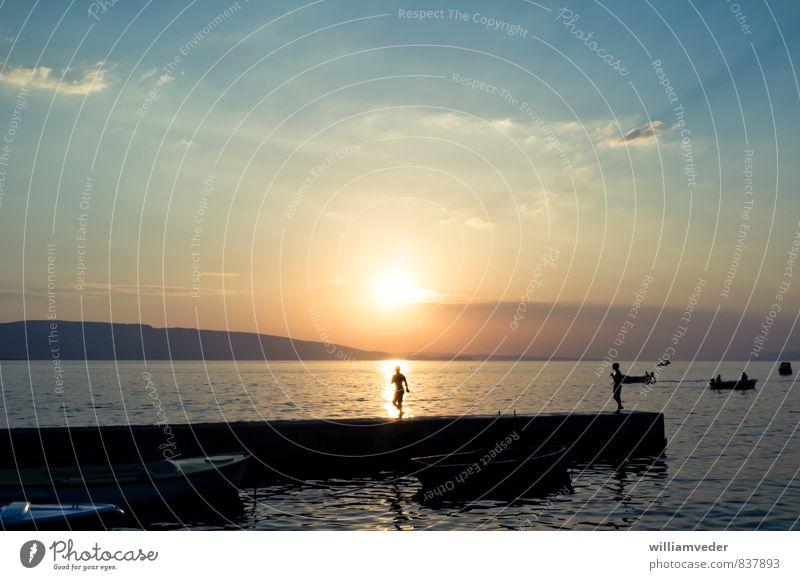 Sonnenuntergang an der Meeresküste Himmel Ferien & Urlaub & Reisen Sommer Freude Strand Ferne Wärme Schwimmen & Baden Freiheit Freizeit & Hobby Tourismus Europa