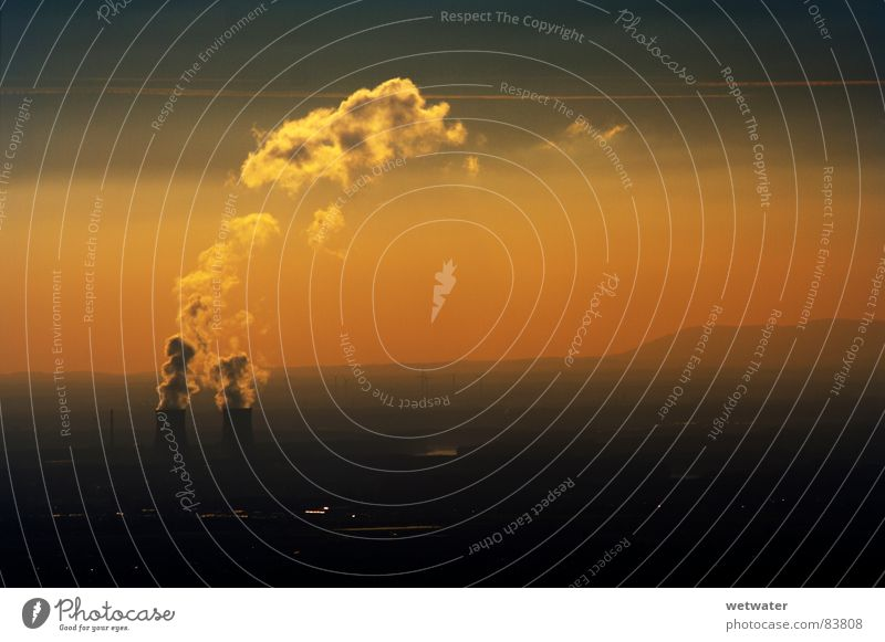 AKW sunset Kernkraftwerk Nebel Sonnenuntergang Kraft Himmel Industrie hazy Wasserdampf fog steam orange landscape Landschaft Powerplant sky