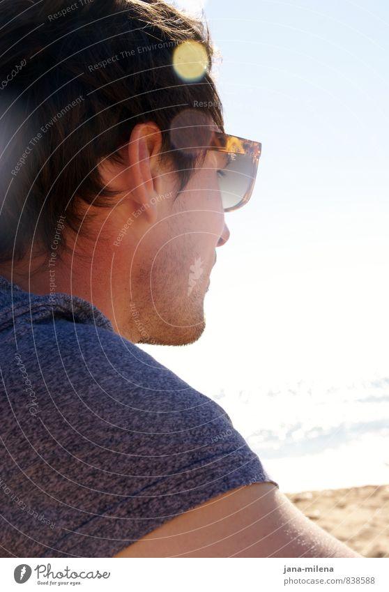 verweile doch Freizeit & Hobby Sommer Sommerurlaub Sonne Sonnenbad Strand Meer maskulin 1 Mensch 18-30 Jahre Jugendliche Erwachsene Sand Wasser Küste Bucht