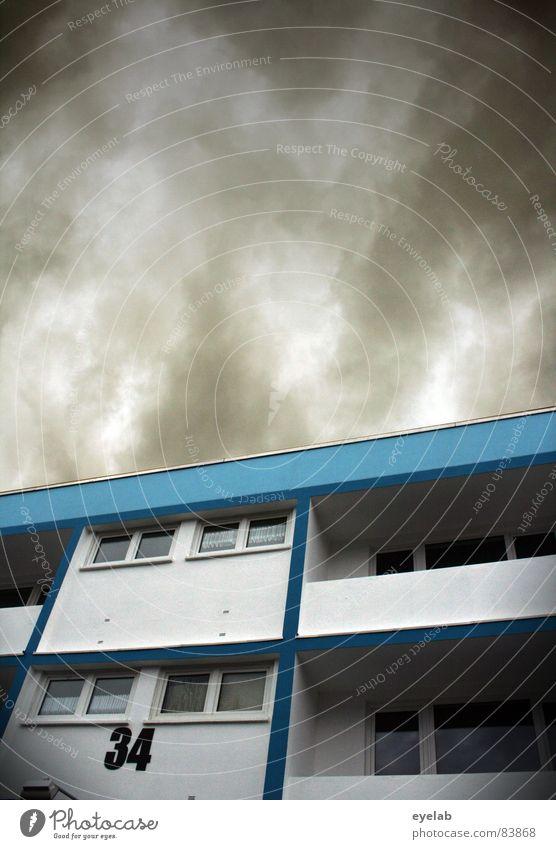 Demographischer Restposten II unsozial Fenster Wand Gebäude Haus Hochhaus braun Hoffnung Balkon Ziffern & Zahlen Symmetrie Plattenbau Stadtrand Dinge 34