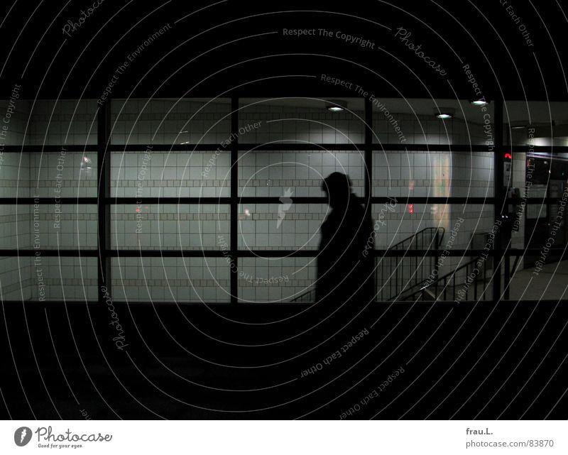 Heimweg Mensch Einsamkeit Lampe kalt Arbeit & Erwerbstätigkeit Fenster gehen Treppe Fliesen u. Kacheln Station U-Bahn Bürgersteig Bahnhof heimwärts