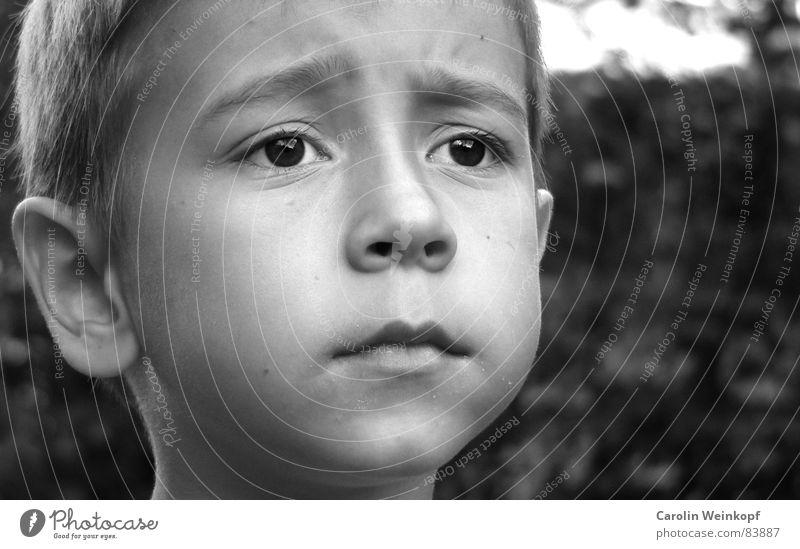 Sehnsucht? Wange Kind klein süß schwarz Schüler Segelohr Lippen Kinn braunes Auge Stirnfalte Ferne moritz Junge b/w Schwarzweißfoto Schulkind Ohr Nase Mund