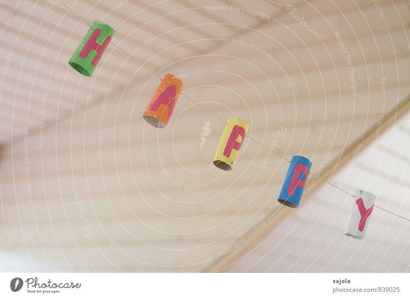 happy Freude Gefühle Glück Feste & Feiern Party Häusliches Leben Dekoration & Verzierung Geburtstag Fröhlichkeit Buchstaben Wort hängen gemalt selbstgemacht hängend Kindergeburtstag