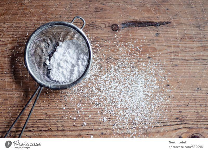 Puderzucker Foodfotografie Ernährung süß Kochen & Garen & Backen Süßwaren Zucker Dessert Holztisch Sieb