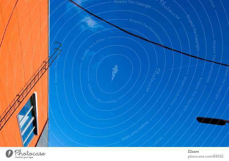 abstrakte geometrie II Himmel Farbe Fenster orange Seil Perspektive modern Kabel Schnur Verbindung Grafik u. Illustration Leiter Geometrie verbinden graphisch