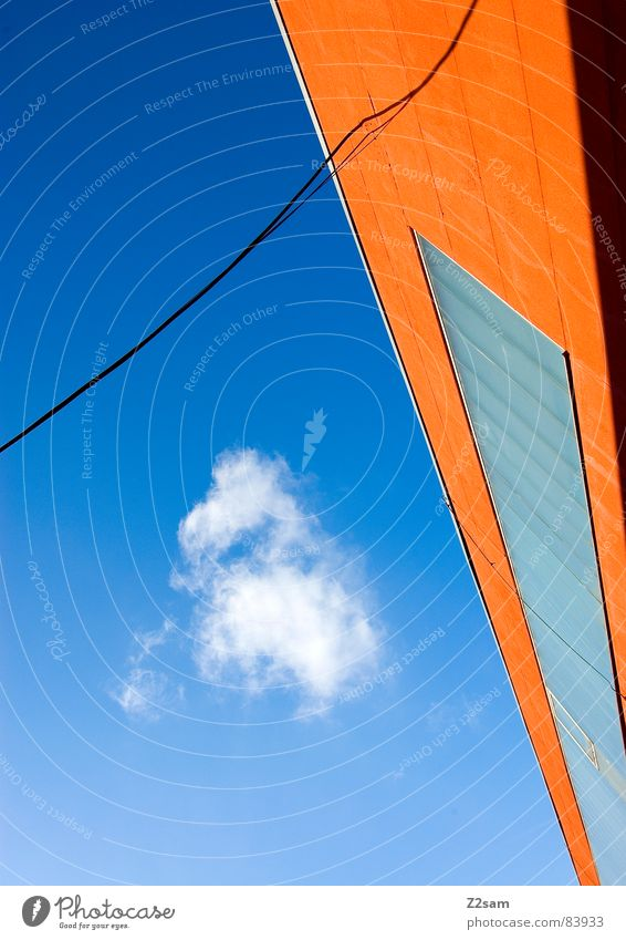 abstrakte geometrie III Himmel Farbe Fenster orange Seil Perspektive modern Kabel Schnur Verbindung Grafik u. Illustration Leiter Geometrie verbinden graphisch