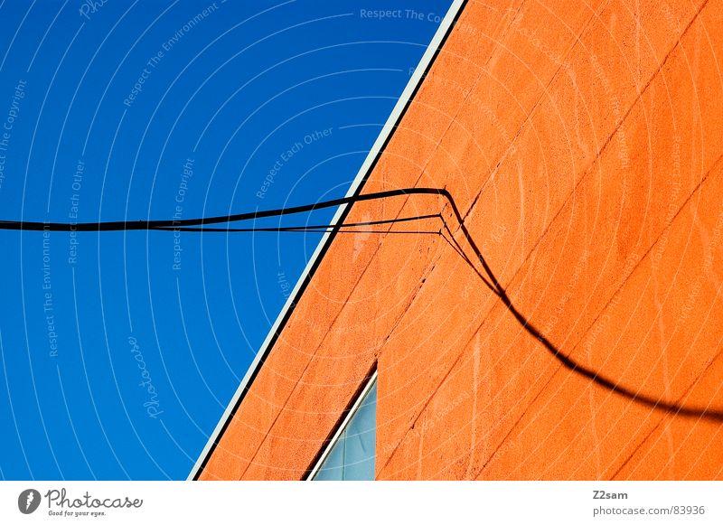 abstrakte geometrie IV Geometrie graphisch Schnur verbinden Fenster Perspektive modern Grafik u. Illustration Farbe orange Leiter lininien Seil Kabel Verbindung
