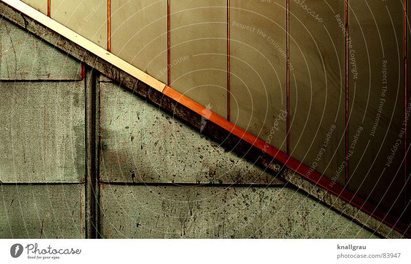 oxidating colours alt Stadt grün rot Farbe Wand Mauer Linie Graffiti Raum orange Metall Kunst dreckig glänzend Wetter