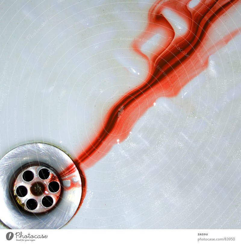 Psycho Farbfoto Innenaufnahme Detailaufnahme rot Abfluss Blut Blutspur Blutfleck Blutbad