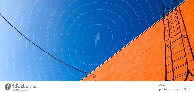 abstrakte geometrie V Himmel Farbe oben Fenster orange Seil hoch Perspektive Treppe modern Kabel Schnur Verbindung Grafik u. Illustration aufwärts