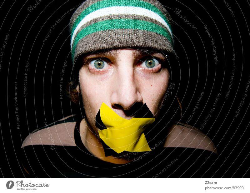 quiet please II Stil gefesselt geknebelt Klebeband kleben Mensch Streifen Bart grau gelb ruhig Angst bedrohlich Stirnband bleich grün diagonal Mann hat man