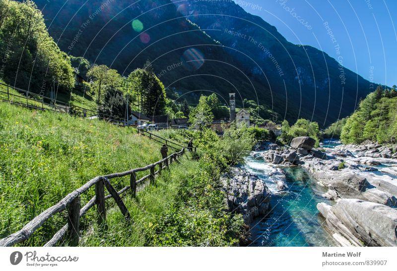 Lavertezzo Natur Ferien & Urlaub & Reisen Landschaft Idylle Europa Alpen Dorf Flussufer Schweiz Kanton Tessin