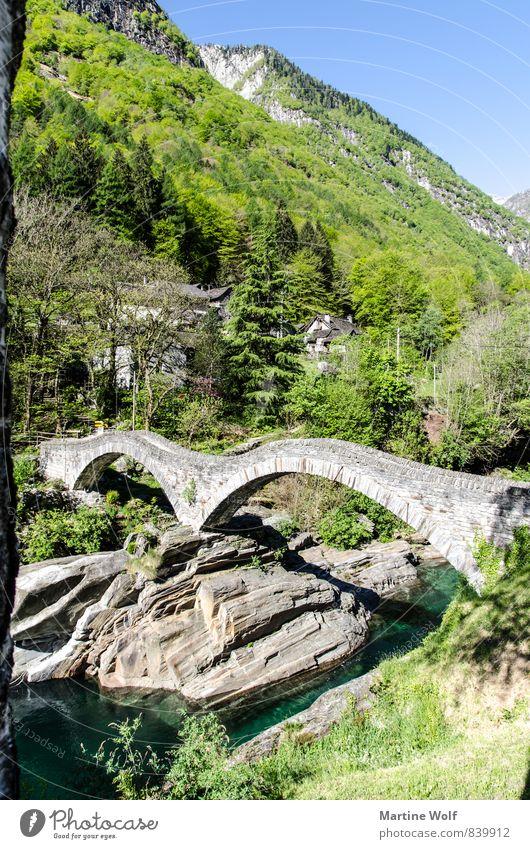 Ponte dei Salti Natur Ferien & Urlaub & Reisen Landschaft Felsen Europa Brücke Fluss Alpen Schweiz Kanton Tessin