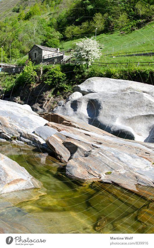 Verzasca Natur Ferien & Urlaub & Reisen ruhig Landschaft Haus Felsen Europa Fluss Alpen Schweiz Kanton Tessin