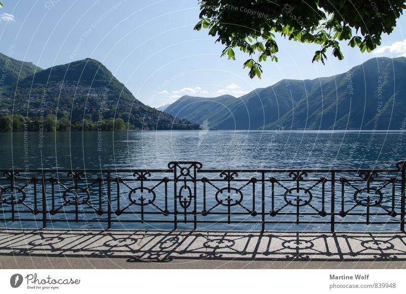 Lago du Lugano Landschaft See Luganosee Lago di Lugano Kanton Tessin Schweiz Europa Idylle Ferien & Urlaub & Reisen ruhig Promenade Farbfoto Außenaufnahme