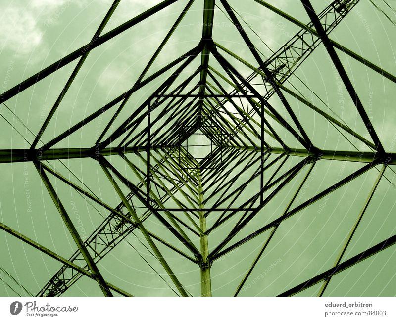 Stahlriese Himmel Kraft Industrie Energiewirtschaft Elektrizität gefährlich bedrohlich Gitter Steckdose Versorgung Stromschlag