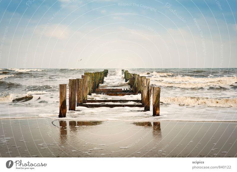 Wellenbrecher Himmel Natur Ferien & Urlaub & Reisen Wasser Sommer Sonne Meer Erholung Landschaft Wolken Strand Ferne Wärme Frühling Schwimmen & Baden Sand