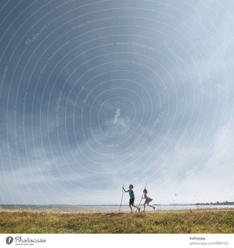 deichgrafen Mensch Kind Mädchen Junge Geschwister Bruder Schwester Familie & Verwandtschaft Kindheit Leben 2 Umwelt Natur Landschaft Himmel Küste laufen Deich