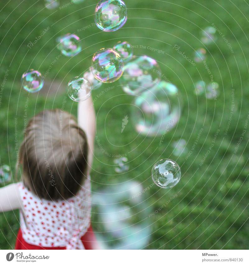 freude Mensch Kind Mädchen Freude feminin Gras Spielen träumen Kindheit verrückt Kleid Kleinkind Schweben fliegend Blase Seifenblase